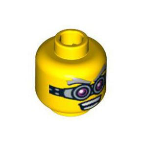 레고 부품 피규어 머리 Yellow Minifigure, Head Glasses, Pink and Silver, Gray Eyebrows, Open Mouth with Teeth Pattern - Blocked Open Stud