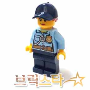 레고 시티 피규어 여자 경찰 Police - City Officer Female, Bright Light Blue Shirt with Badge and Radio, Dark Blue Legs, Dark Blue Cap with Dark Orange Ponytail[레고정품 브릭스타]