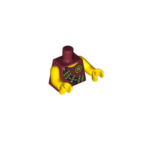 레고 피규어 몸통 부품 Dark Red Torso Dino Tranquilizer Bandolier, Belt and 'D' Pattern / Yellow Arms / Yellow Hands 4655815[레고정품 브릭스타]