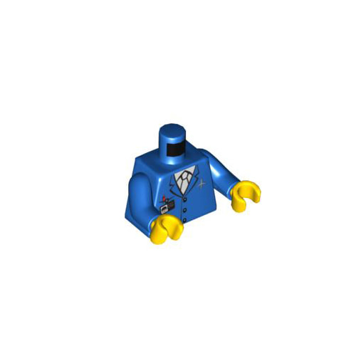 레고 피규어 몸통 부품 Blue Torso Airplane Crew Male, Light Blue Tie, Red Pen, Silver Logo, 3 Buttons Pattern / Blue Arms / Yellow Hands 6023572[레고정품 브릭스타]