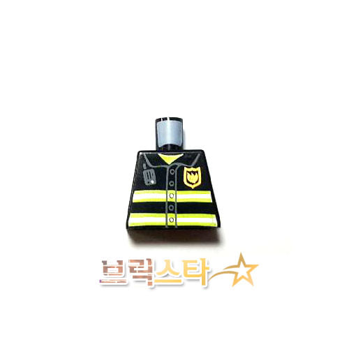레고 부품 피규어 상체 소방관 검정색 Black Torso Fire Uniform Badge and Stripes Pattern with Radio