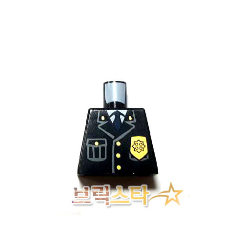 레고 부품 피규어 상체 경찰관 넥타이 검정색 Black Torso Police Jacket with Pocket, Gold Badge and Blue Tie Pattern