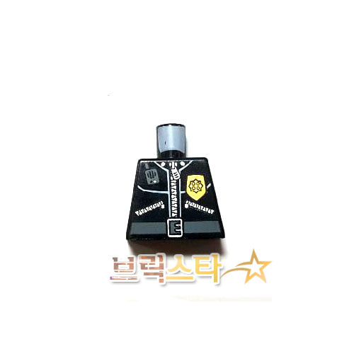 레고 부품 피규어 상체 경찰관 검정색 Black Torso Police Leather Jacket, Gold Badge, Radio, Belt Pattern